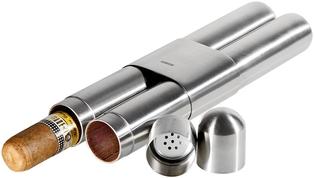 Cigarretui i förstklassigt stål med satin / ceder 2 cigarrer