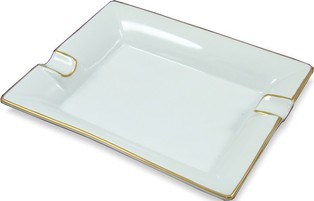 Cigar ashtray white/gold - rectangular